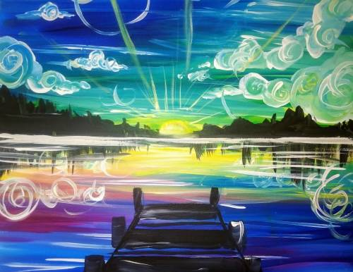A Here Comes the Sunset paint nite project by Yaymaker