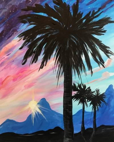 A Date Palm Sunset paint nite project by Yaymaker