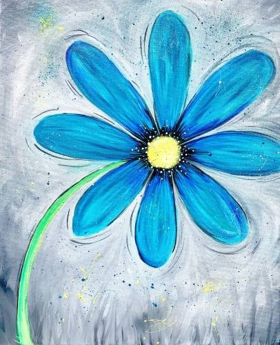 A Whimsical Daisy in Teal and Gray paint nite project by Yaymaker