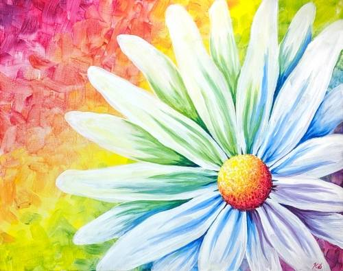 A Rainbow Daisy III paint nite project by Yaymaker