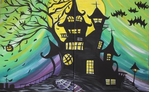 A Haunted Moon Mansion  Partner Painting paint nite project by Yaymaker