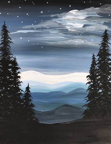 A Cold Blue Mountain paint nite project by Yaymaker