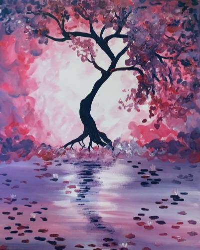 A Cherry Blossom Reflection II paint nite project by Yaymaker