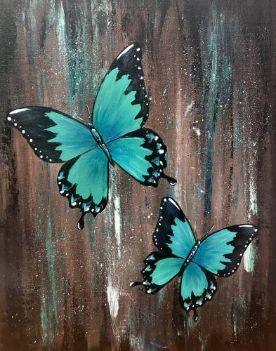 A Jeweled Butterflies paint nite project by Yaymaker
