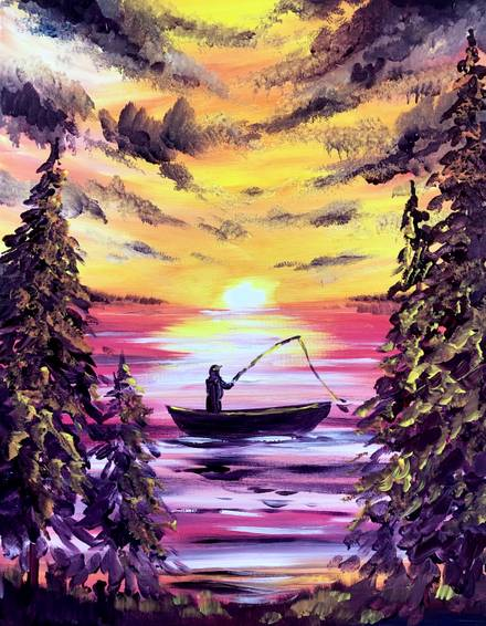 A A Fine Time to Fish paint nite project by Yaymaker