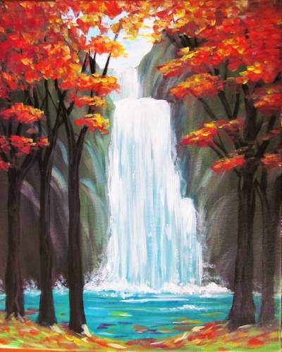 A Waterfalls in Autumn paint nite project by Yaymaker
