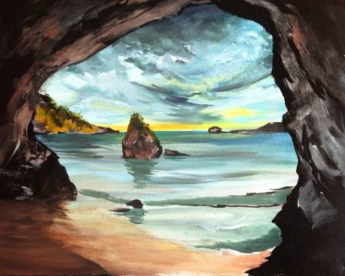 A New Zealands Rocky Cove paint nite project by Yaymaker