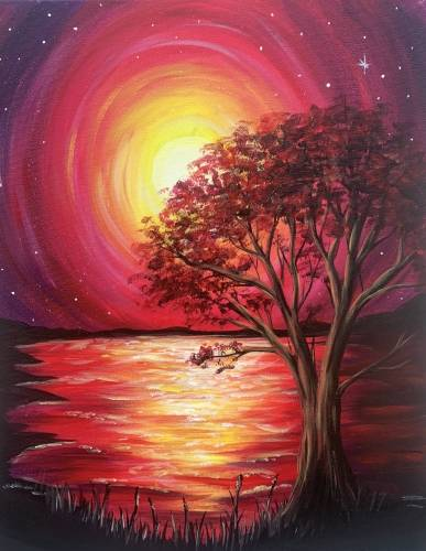 A Crimson Sunset paint nite project by Yaymaker