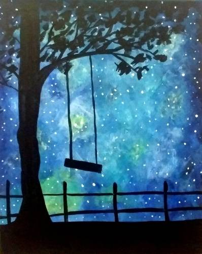 A Rope Swing Galaxy paint nite project by Yaymaker