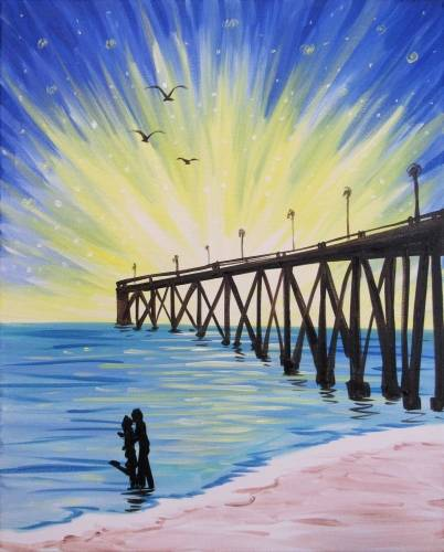 A Lovers At The Pier At Sunrise paint nite project by Yaymaker
