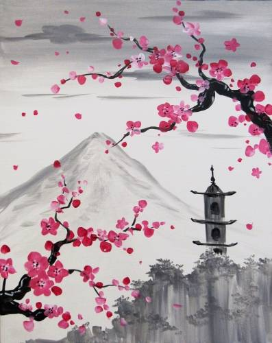 A Blossoms Over The Pagoda paint nite project by Yaymaker