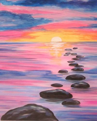 A Sunset Stepping Stones paint nite project by Yaymaker