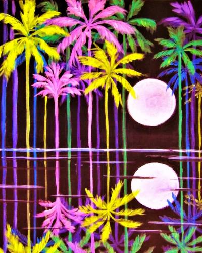 A Moonlit Palms In Technicolor paint nite project by Yaymaker