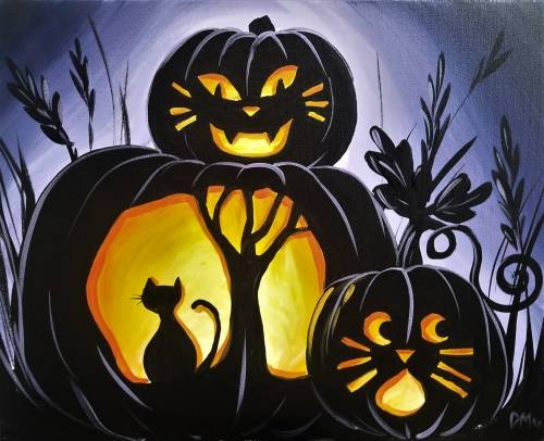 A Pumpkin Cats paint nite project by Yaymaker
