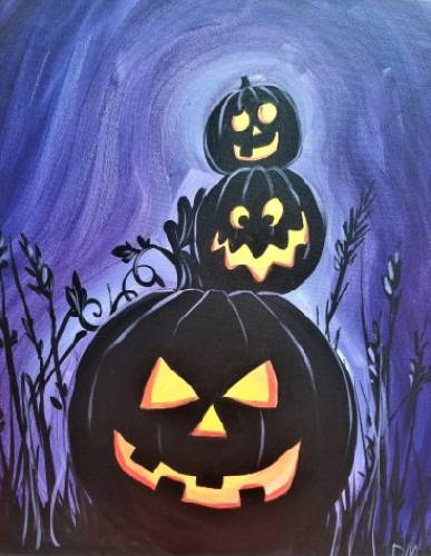 A Three Pumpkin Kings paint nite project by Yaymaker