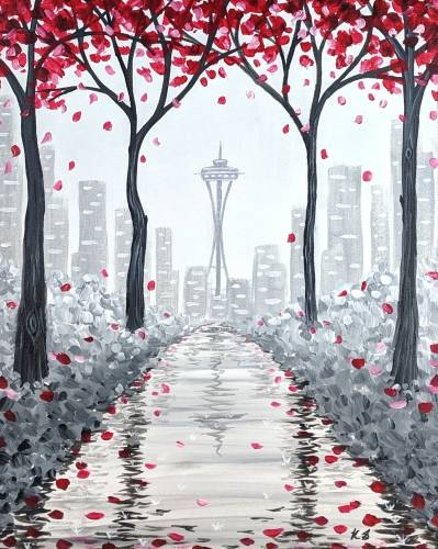 A Rainy Seattle Stroll paint nite project by Yaymaker