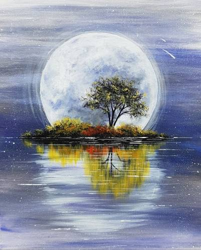 A Harvest Moon Reflection paint nite project by Yaymaker