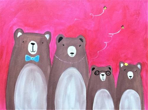 A Create Your Own Bear Family paint nite project by Yaymaker