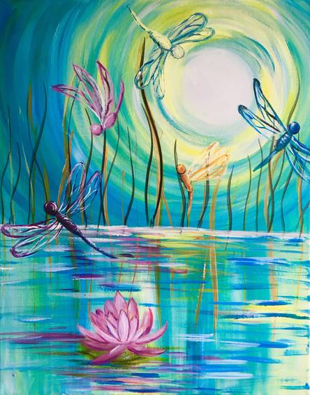 A Dragonflies And A Lotus Flower paint nite project by Yaymaker