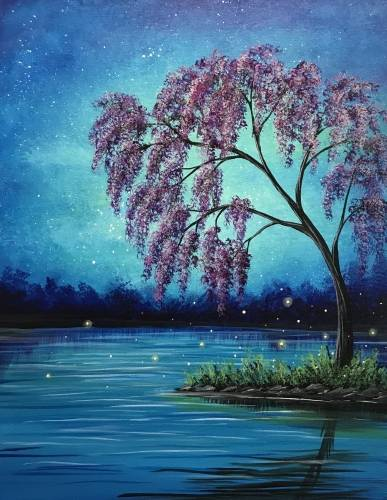 A Mystic Purple Blossoms paint nite project by Yaymaker