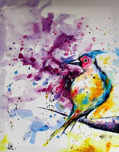 A Watercolor Bird paint nite project by Yaymaker
