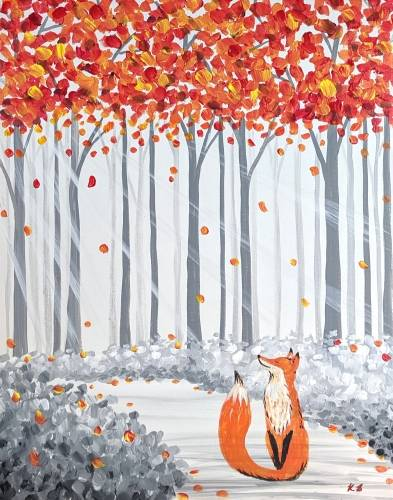 A Fox In The Fall paint nite project by Yaymaker