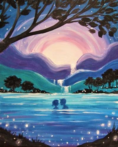 A Starry Moonlight Swim paint nite project by Yaymaker