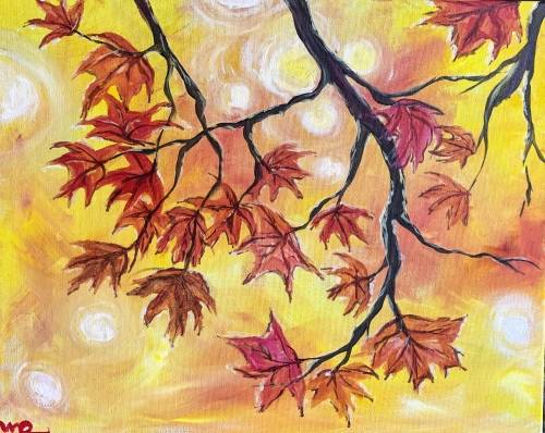 A Red Autumn Leaves paint nite project by Yaymaker