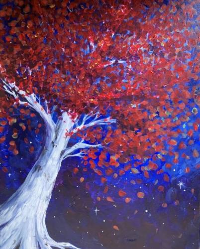 A Big Red Tree paint nite project by Yaymaker
