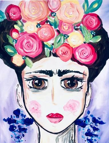 A Frida In Flowers paint nite project by Yaymaker