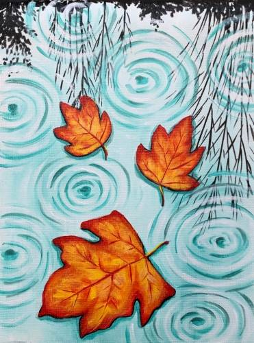 A Floating Fall Leaves paint nite project by Yaymaker