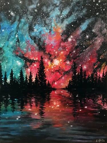 A Forest Lake Galaxy paint nite project by Yaymaker