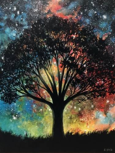 A Galaxy Wisdom Tree paint nite project by Yaymaker