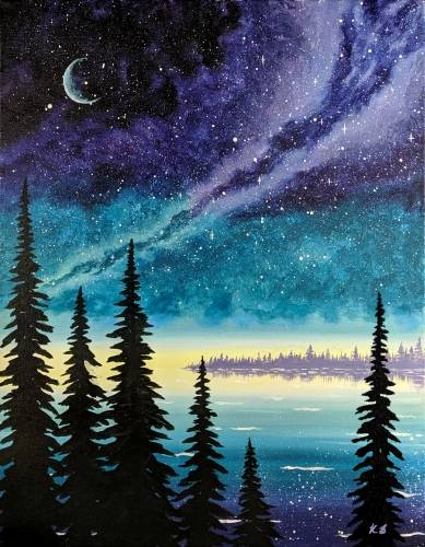 A Twilight Galaxy Sky paint nite project by Yaymaker