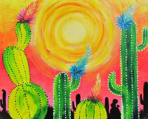 A Wild West At Midday paint nite project by Yaymaker