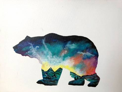 A Galaxy Mountain Bear paint nite project by Yaymaker