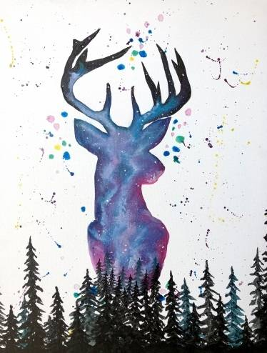 A Spaced Out Deer paint nite project by Yaymaker