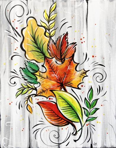 A Fall Leaves Bouquet paint nite project by Yaymaker