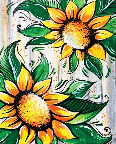 A Sunflower Duo paint nite project by Yaymaker
