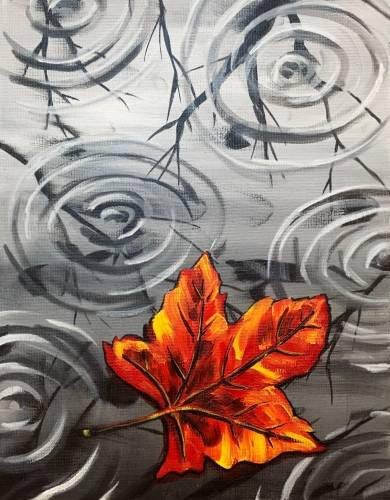 A Rainy Autumn Leaf paint nite project by Yaymaker