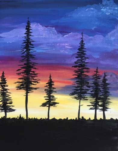 A Colorful Clouds paint nite project by Yaymaker