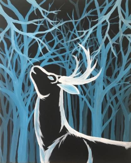 A Winter Blue Stag paint nite project by Yaymaker