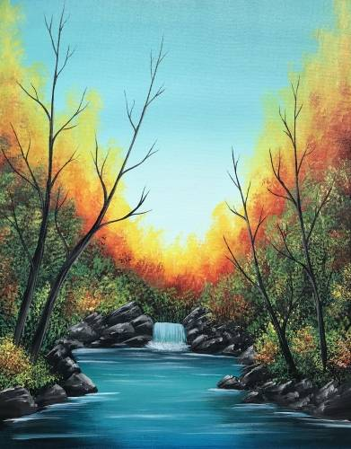 A Bright Autumn Falls paint nite project by Yaymaker