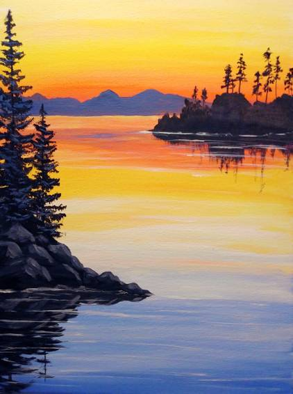 A Sunset Reflections II paint nite project by Yaymaker