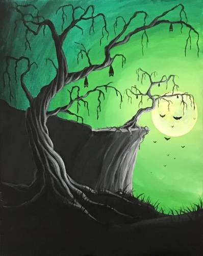 A Twisted Trees and Bats Please paint nite project by Yaymaker
