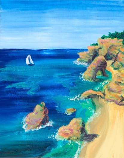 A Ocean Cliffs Of Portugal paint nite project by Yaymaker
