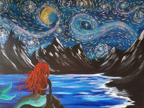 A Starry Nite Siren paint nite project by Yaymaker