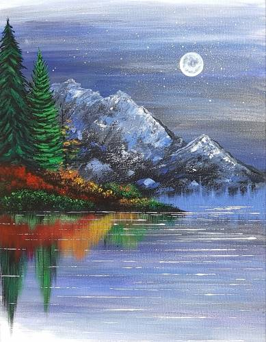 A Bright Autumn Reflections paint nite project by Yaymaker