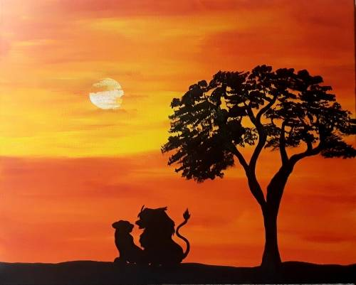 A Roaring Sunset paint nite project by Yaymaker