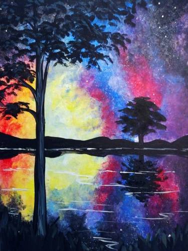 A Rainbow Galaxy Reflection paint nite project by Yaymaker